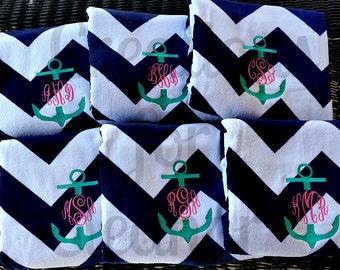 Monogrammed Beach Towel, Personalized Beach Towel, Anchor Monogram, Bridesmaids Gift, Teachers Gift, Chevron Beach Towel, Bachelorette Party