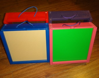 Portable Building Block Storage and Play Box with LEGO© brand base plate