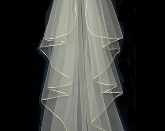 Waterfall Cascade Style Satin Cord Edge Knee Length Wedding Veil - free tulle swatches