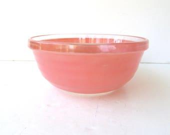 Mid Century Modern Heavy Pink Glass Bowl - Salad Bowl - Casserole - Pink Glass Bowl - Mixing Bowl -