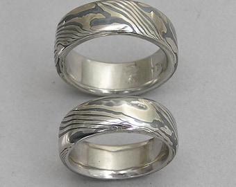 White gold and sterling silver Mokume-gane wedding band set