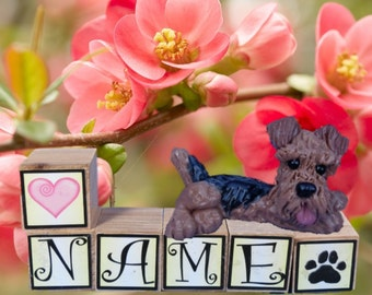Airedale Terrier Dog PERSONALIZED with your dog's name on blocks hand sculpted by Sally's Bits of Clay