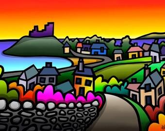 Criccieth Castle - colourful fine art print by Amanda Hone