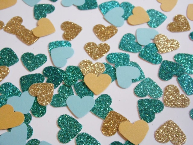 Gold and Teal Glitter Heart Confetti Wedding Reception