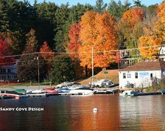 Long Lake, Harrison, Maine in the Fall, Cove, Foliage, Boats, Marina, Docks, Foliage, Reflections, Fine Art, Wall Art