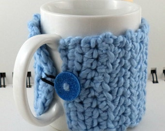 Crocheted Coffee or Ice Cream Cozy in Ice Blue Organic Cotton with Blue Button (SWG-I01)
