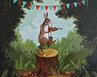"Elizabeth Foster artist print ""The Hare & the Fiddle"""
