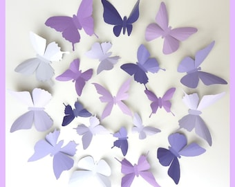 3D Wall Butterflies - 15 Lavender, Purple, Eggplant Butterfly Silhouettes, Nursery, Home Decor, Wedding