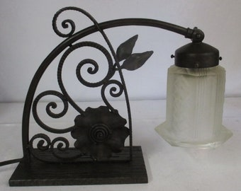 art deco wrought iron table lamp signed Carion with geometric shade