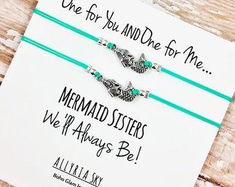 Set of Two Silver Mermaid Friendship Bracelets | Mermaid Jewelry | BFF, Best Friend, Sister Gift Jewelry | Matching Bracelets