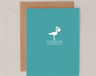 congrats on your new arrival // stork // baby // newborn // congratulations // new baby // greeting card // skel design // skel & co