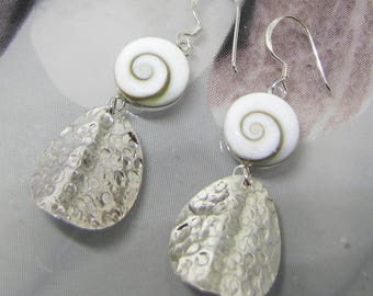 Silver brush and eye of Saint Lucia earrings