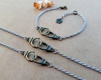 3 Partners in Crime Bracelets | Best Friends Bracelets | Matching Bracelets | Handcuffs Bracelets | Friendship Bracelets | Bff gift idea