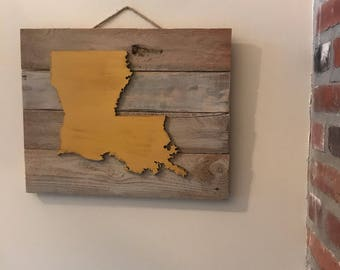 Rustic Wooden Distressed Louisiana Sign
