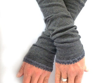 Arm warmers, fingerless gloves in grey lace top in dark grey