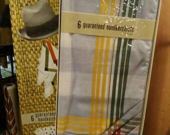 6 Guaranteed Gentlemens handkerchiefs from the 1950s.