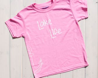 Kids Lake Shirt, Kids Summer Shirt, Kids Shirts, Kids Fashion, Lake Life Shirt, Girl's Lake Shirt, Kids Graphic Tee, Girls Fishing Shirt