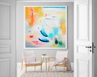 Abstract art print, Yellow painting, Vibrant  art, Print on Canvas, Art Print for living Room, abstract Giclee print, abstract painting