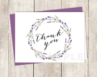 Rustic Thank You Card DIY / Purple Flowers, Lavender Wreath / Rustic Card / Wedding Thank You Printable PDF ▷ Instant Download