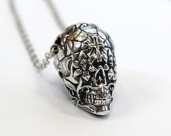 Sugar Skull Necklace Solid Sterling Silver Sugar Skull Pendant Necklace Sugar Skull Jewelry Calavera 153