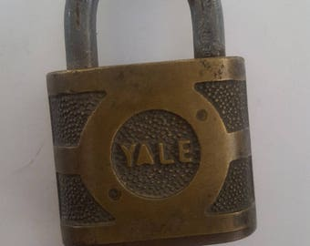 "Vintage 1960's Eaton, Yale and Towne Inc brass padlock , Super pin tumbler 3"" with new key."