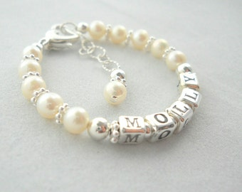 Bracelet Baby Name Bracelet with Freshwater Pearls B135