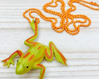 Yellow frog necklace, orange and yellow frog, plastic frog pendant, animal Jewellery, kitsch necklace, science and nature gift