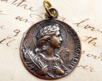 Bronze St Philomena Medal - Patron of babies & infertility - Antique Reproduction