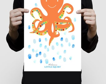 fingerprint guest book octopus for baby shower or birthday, printed keepsake art, nautical sea beach themed nursery art orange animal bright
