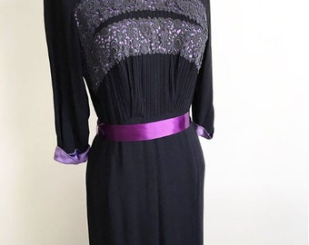 1930s 1940s dress crepe with amazing handwork, black with soft purple