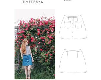 Denim Button Up Skirt - PDF Womens Sewing Pattern Sizes 00-20