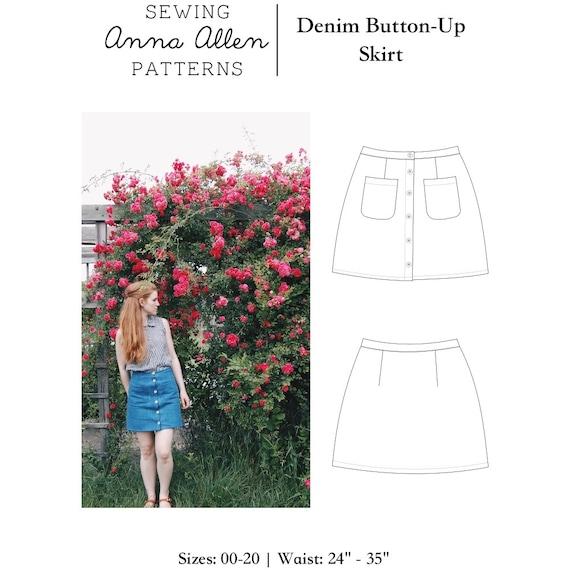 Denim Button Up Skirt - PDF Womens Sewing Pattern Sizes 00-20