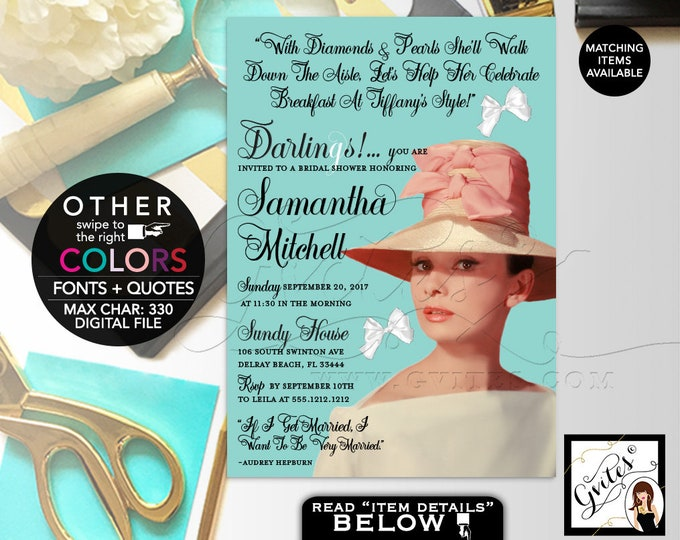 Audrey Hepburn Bridal shower invitations, diamonds pearls, little black dress, 5x7, Gvites.