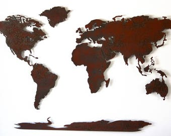 "World Map Metal wall art - 72"" wide X 43"" tall - 5 separate pieces - shown in the Rust Patina - Choose you color :)"
