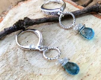 Blauer Topas - etwas Blaues Braut oder formelle Ohrringe
