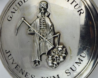 MUSEUM Silver&Diamonds Verge Fusee CALENDAR Skull Memento Mori pocket watch and fob