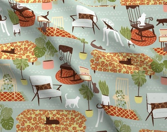 Cat Lady Mod Furniture Fabric - New cat lady By Lizmytinger - Plants Mod House Decor Cats Cotton Fabric By The Yard With Spoonflower
