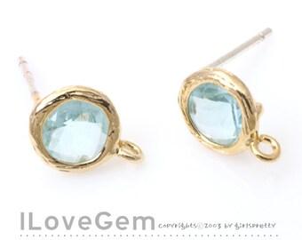 SALE/ 10pcs /  B112 Gold plated, Aquamarine, Glass Earrings, mini Disc, 7.6mm, earrings, 925 sterling silver post