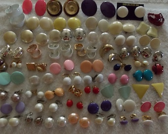 Lot 60 earrings clip on/clamp back, coated/enameled colors whites blank, imperfect chip blemish etc