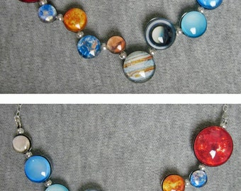 Mini Wiggly Solar System Double Sided Sterling Silver Necklace, Hand-Made
