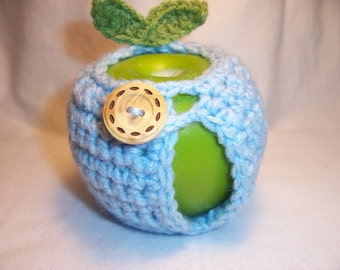 Handmade Crocheted Apple Cozy - Crochet Apple Cozy - Soft Blue Color