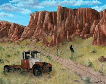 Old Truck Painting, Old Dirt Roads Painting, Western Landscape Art, Original Oil Painting on Canvas, 18x24 inch