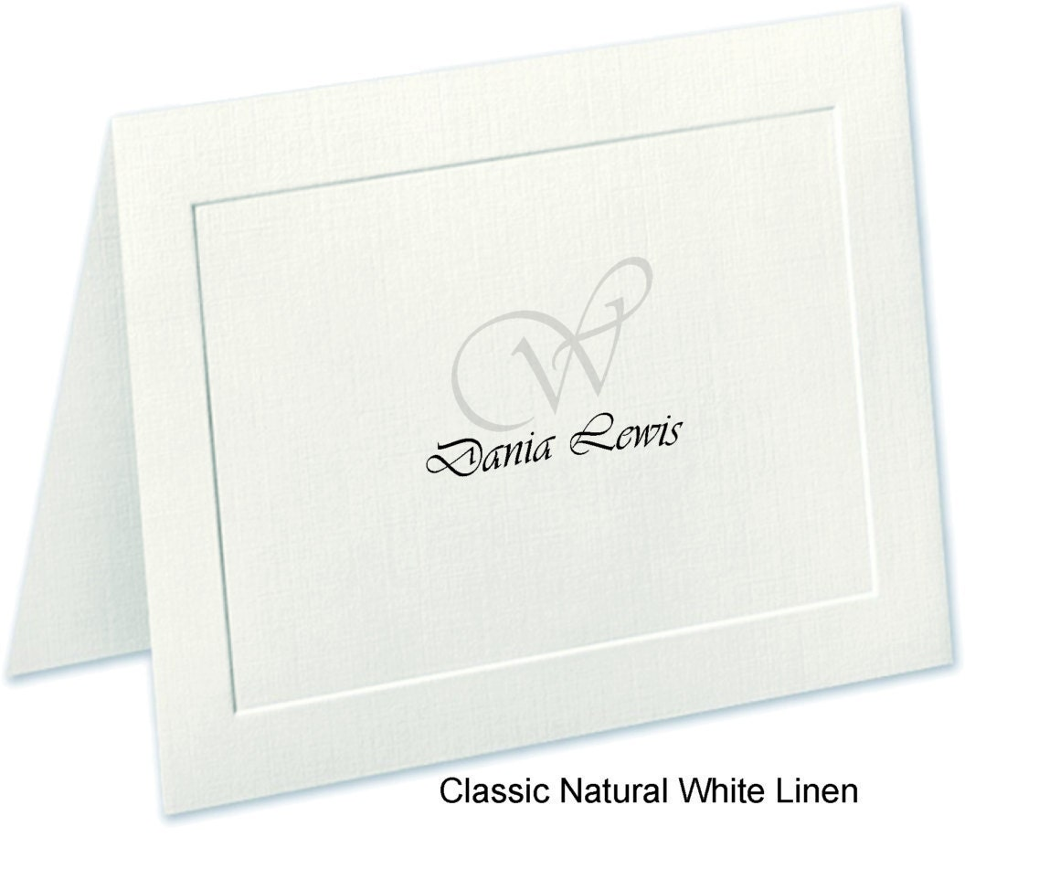 Couples Stationery, Embossed Panel Linen Personalized Note Cards ...