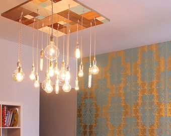 Mid-Century Modern Chandelier -Repurposed Wood Chandelier With Mosaic Pattern In A Modern Style