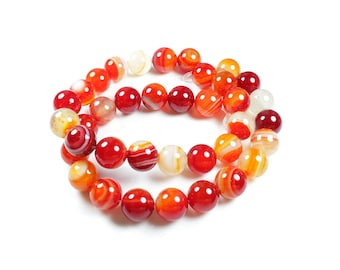 Natural Agate beads 5 shades of Red - Orange 10mm