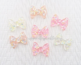 6pcs - Confetti Ruffle Bow Mix Decoden Cabochon (36x27mm) BBM013
