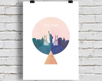 New York Print, geometric art, abstract art, new york skyline, instant download. Geometric print. Poster, trends