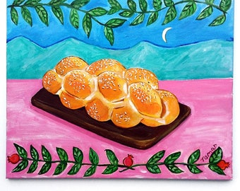 Shabbat Art, Jewish Gift, Challah Bread, Original Acrylic Painting, 16X20 Painting Canvas, Ready to Hang, Shabbath Dinner, Jewish Food Art