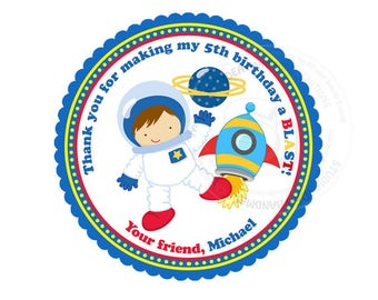 "Custom Astronaut Birthday Printable 2.5"" Tags-Astronaut Space D.I.Y Thank you Tags- Personalized Stickers (You Print) 2.5"" tags-Digital file"