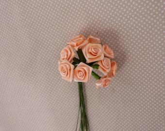 Fabric flowers: salmon roses, embellishment